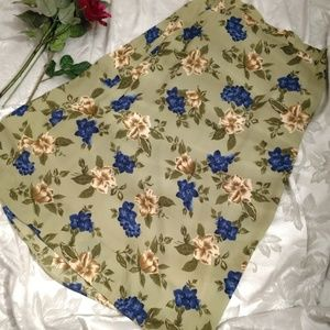 VINTAGE Green - blue and beige flowers maxi skirt